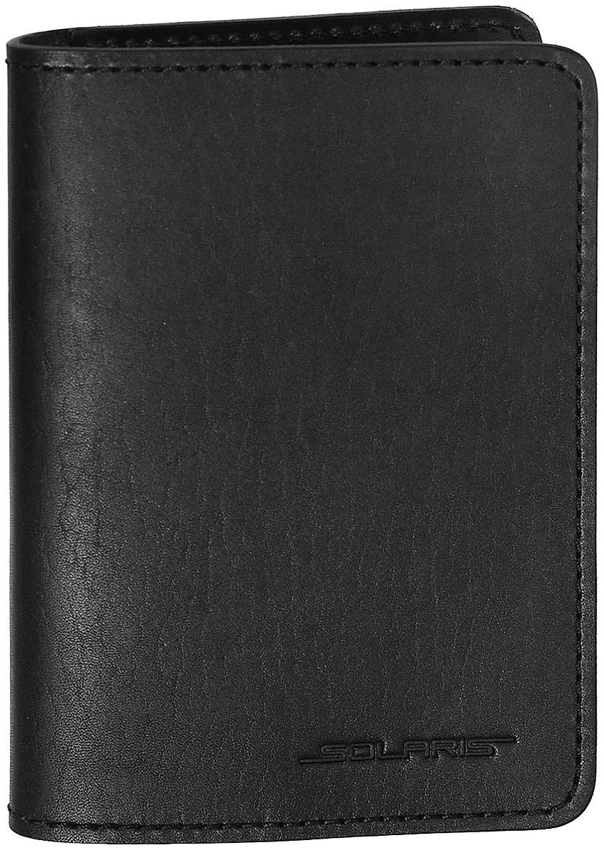Обложка для паспорта Solaris, цвет: черный. S8101S8101Многофункциональная обложка для паспорта, с дополнительными внутренними карманами для трёх пластиковых карт. В обложку помещается российский паспорт или загранпаспорт. Обложку также можно использовать как небольшое портмоне. Обложка выполнена в стиле TRAVEL из натуральной кожи толщиной 2-2,5 мм. Толстая кожа имеет высокую стойкость к износу и надёжно предохраняет содержимое обложки от повреждений. Это особенно важно для сохранности документов в путешествиях и туристических поездках. В варианте использования как обложки для паспорта/документов внутрь помещаются: - паспорт; - техпаспорт автомобиля (во внутренний продольный карман); - водительские права и 2 пластиковые карты. В варианте использования как портмоне внутрь помещаются:- денежные купюры, сложенные пополам (во внутренние продолные карманы);- 3 пластиковые карты. Размеры обложки для паспорта в развёрнутом/сложенном виде: 198/99х140 мм.