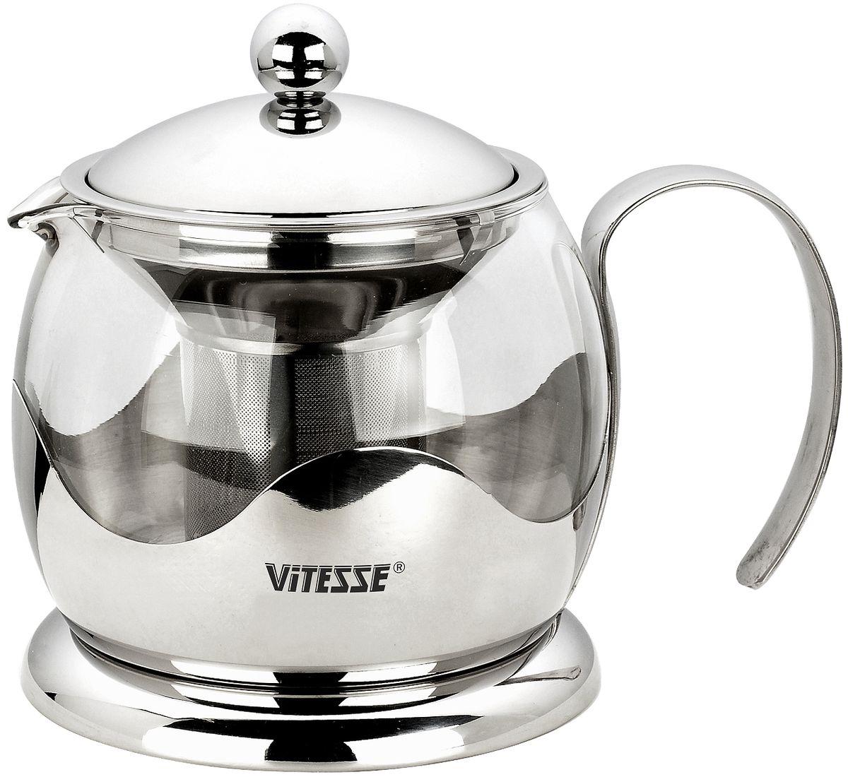 Чайник заварочный Vitesse Aniya, с фильтром, 800 мл94672Заварочный чайник Vitesse Aniya, выполненный из высококачественной нержавеющей стали и термостойкого стекла, предоставит вам все необходимые возможности для успешного заваривания чая. Чай в таком чайнике дольше остается горячим, а полезные и ароматические вещества полностью сохраняются в напитке. Чайник имеет вынимающийся фильтр из нержавеющей стали, что делает его чрезвычайно удобным в использовании.Эстетичный и функциональный, с эксклюзивным дизайном, чайник будет оригинально смотреться в любом интерьере.Чайник пригоден для мытья в посудомоечной машине.Высота чайника (без учета крышки): 11 см. Диаметр основания чайника: 11,5 см.