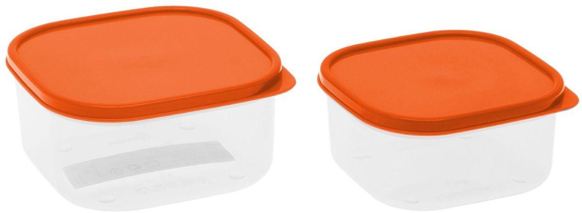 Набор пищевых контейнеров Доляна, цвет: оранжевый, 2 шт21395599Если после вкусного обеда осталась еда, а насладиться трапезой хочется и на следующий день, ланч-бокс станет отличным решением данной проблемы!Такой контейнер является незаменимым предметом кухонной утвари, ведь у него много преимуществ:Простота ухода. Ланч-бокс достаточно промыть тёплой водой с небольшим количеством чистящего средства, и он снова готов к использованию.Вместительность. Большой выбор форм и объёма поможет разместить разнообразные продукты от сахара до супов.Эргономичность. Ланч-боксы очень легко хранить даже в самой маленькой кухне, так как их можно поставить один в другой по принципу матрёшки.Многофункциональность. Разнообразие цветов и форм делает возможным использование контейнеров не только на кухне, но и в других областях домашнего быта.Любители приготовления обеда на всю семью в большинстве случаев приобретают ланч-боксы наборами, так как это позволяет рассортировать продукты по всевозможным признакам. К тому же контейнеры среднего размера станут незаменимыми помощниками на работе: ведь что может быть приятнее, чем порадовать себя во время обеда прекрасной едой, заботливо сохранённой в контейнере?В качестве материала для изготовления используется пластик, что делает процесс ухода за контейнером ещё более эффективным. К каждому ланч-боксу в комплекте также прилагается крышка подходящего размера, это позволяет плотно и надёжно удерживать запах еды и упрощает процесс транспортировки.Однако рекомендуется соблюдать и меры предосторожности: не использовать пластиковые контейнеры в духовых шкафах и на открытом огне, а также не разогревать в микроволновых печах при закрытой крышке ланч-бокса. Соблюдение мер безопасности позволит продлить срок эксплуатации и сохранить отличный внешний вид изделия.Эргономичный дизайн и многофункциональность таких контейнеров — вот, что является причиной большой популярности данного предмета у каждой хозяйки. А в преддверии лета и дачного сезона такое приобрет