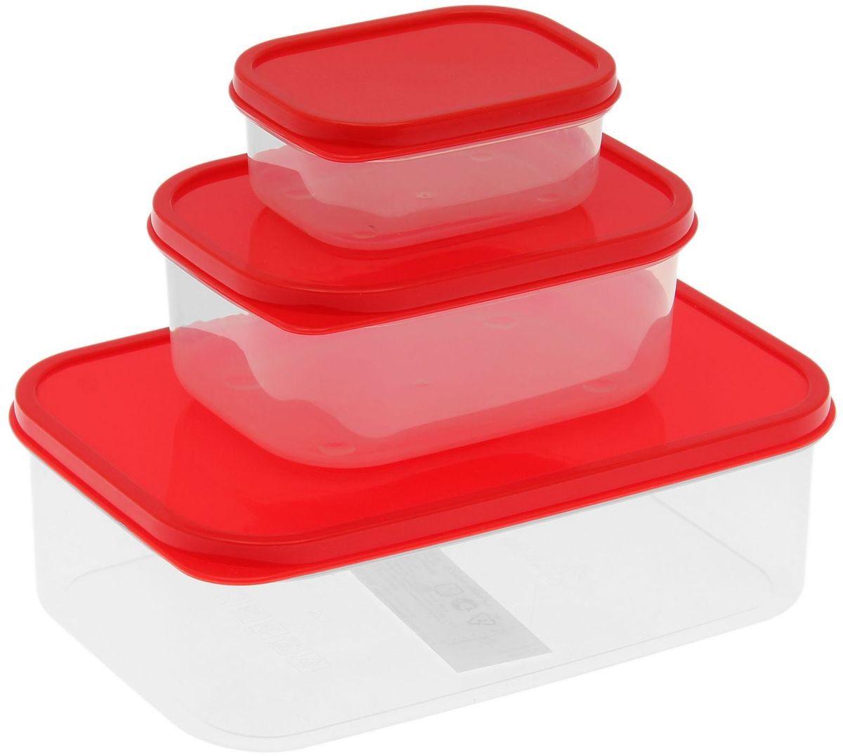 Набор пищевых контейнеров Доляна, цвет: красный, 3 штVT-1520(SR)Если после вкусного обеда осталась еда, а насладиться трапезой хочется и на следующий день, ланч-бокс станет отличным решением данной проблемы!Такой контейнер является незаменимым предметом кухонной утвари, ведь у него много преимуществ:Простота ухода. Ланч-бокс достаточно промыть тёплой водой с небольшим количеством чистящего средства, и он снова готов к использованию.Вместительность. Большой выбор форм и объёма поможет разместить разнообразные продукты от сахара до супов.Эргономичность. Ланч-боксы очень легко хранить даже в самой маленькой кухне, так как их можно поставить один в другой по принципу матрёшки.Многофункциональность. Разнообразие цветов и форм делает возможным использование контейнеров не только на кухне, но и в других областях домашнего быта.Любители приготовления обеда на всю семью в большинстве случаев приобретают ланч-боксы наборами, так как это позволяет рассортировать продукты по всевозможным признакам. К тому же контейнеры среднего размера станут незаменимыми помощниками на работе: ведь что может быть приятнее, чем порадовать себя во время обеда прекрасной едой, заботливо сохранённой в контейнере?В качестве материала для изготовления используется пластик, что делает процесс ухода за контейнером ещё более эффективным. К каждому ланч-боксу в комплекте также прилагается крышка подходящего размера, это позволяет плотно и надёжно удерживать запах еды и упрощает процесс транспортировки.Однако рекомендуется соблюдать и меры предосторожности: не использовать пластиковые контейнеры в духовых шкафах и на открытом огне, а также не разогревать в микроволновых печах при закрытой крышке ланч-бокса. Соблюдение мер безопасности позволит продлить срок эксплуатации и сохранить отличный внешний вид изделия.Эргономичный дизайн и многофункциональность таких контейнеров — вот, что является причиной большой популярности данного предмета у каждой хозяйки. А в преддверии лета и дачного сезона такое приобре