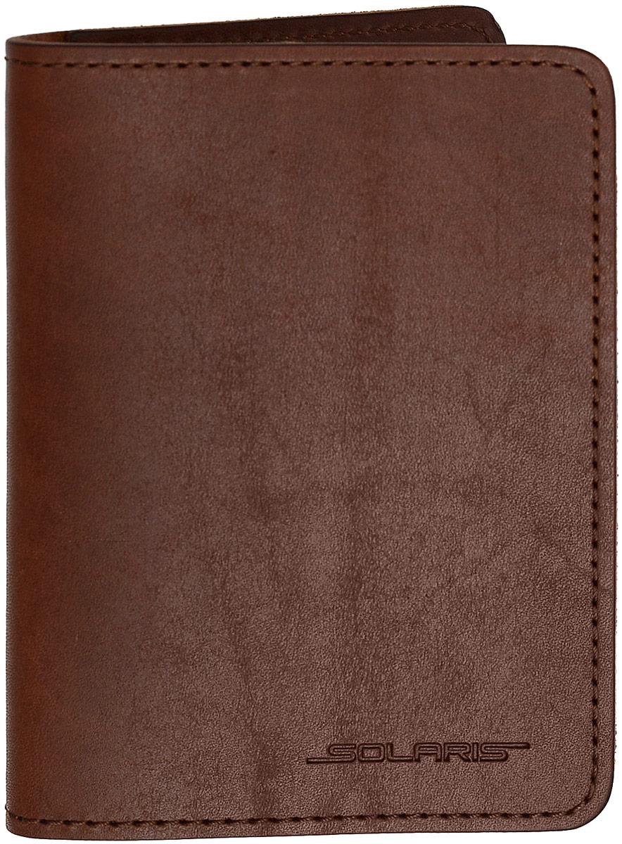 Обложка для паспорта Solaris, цвет: коричневый. S8102S8102Многофункциональная обложка для паспорта, с дополнительными внутренними карманами для трёх пластиковых карт. В обложку помещается российский паспорт или загранпаспорт. Обложку также можно использовать как небольшое портмоне. Обложка выполнена в стиле TRAVEL из натуральной кожи толщиной 2-2,5 мм. Толстая кожа имеет высокую стойкость к износу и надёжно предохраняет содержимое обложки от повреждений. Это особенно важно для сохранности документов в путешествиях и туристических поездках. В варианте использования как обложки для паспорта/документов внутрь помещаются: - паспорт; - техпаспорт автомобиля (во внутренний продольный карман); - водительские права и 2 пластиковые карты. В варианте использования как портмоне внутрь помещаются:- денежные купюры, сложенные пополам (во внутренние продолные карманы);- 3 пластиковые карты. Размеры обложки для паспорта в развёрнутом/сложенном виде: 198/99х140 мм.