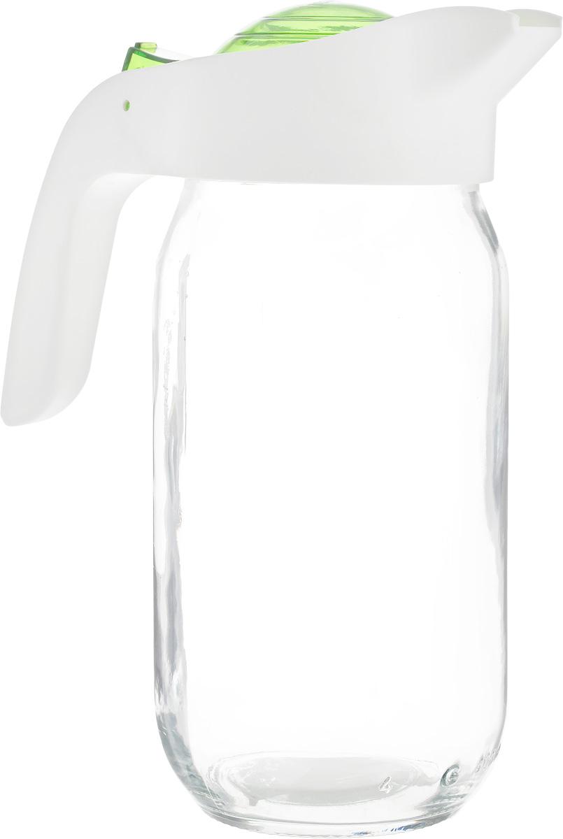 Кувшин Herevin, цвет: прозрачный, белый, зеленый, 1 л. 111271-002VT-1520(SR)Кувшин Herevin, выполненный из высококачественного прочного стекла, элегантно украсит ваш стол. Кувшин оснащен удобной пластиковой ручкой и откидной крышкой. Форма носика обеспечивает наливание жидкости без расплескивания. Пластиковый верх легко откручивается, что позволяет без труда наполнить емкость. Изделие прекрасно подойдет для подачи воды, сока, компота и других напитков. Диаметр (по верхнему краю): 8,5 см.Высота кувшина: 20,5 см.