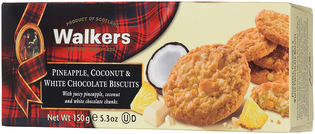 Walkers печенье с ананасом кокосом и белым шоколадом, 150 г0120710Walkers усовершенствовал традиционный рецепт печенья, дополнив его такими ингредиентами как кокос, ананас, белый шоколад. Идеальны как самостоятельное угощение, так и в сочетании с сыром.Пищевая ценность на 100 г: белки 4,5 г, жиры 31,4 г, углеводы 57,2 г.
