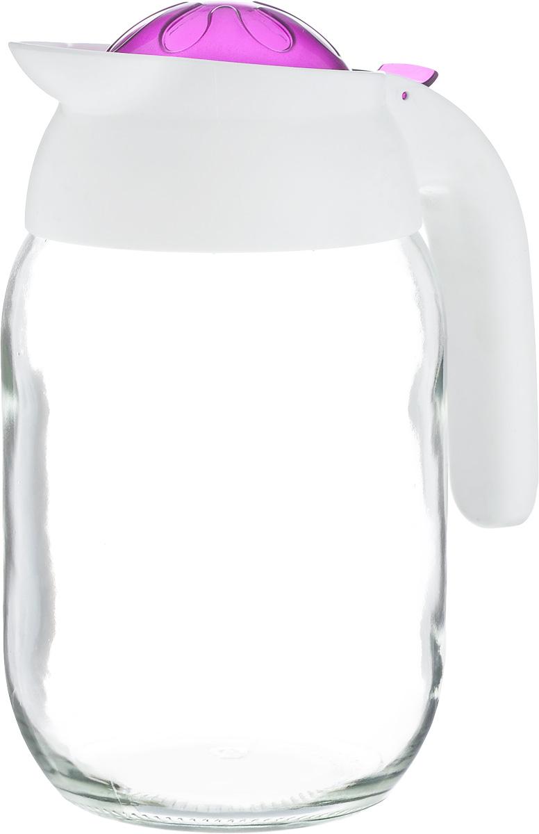 Кувшин Herevin, цвет: прозрачный, белый, фиолетовый, 1,5 л. 111269-000VT-1520(SR)Кувшин Herevin, выполненный из высококачественного прочного стекла, элегантно украсит ваш стол. Кувшин оснащен удобной пластиковой ручкой и откидной крышкой. Форма носика обеспечивает наливание жидкости без расплескивания. Пластиковый верх легко откручивается, что позволяет без труда наполнить емкость. Изделие прекрасно подойдет для подачи воды, сока, компота и других напитков. Диаметр (по верхнему краю): 8,5 см.Высота кувшина: 21 см.