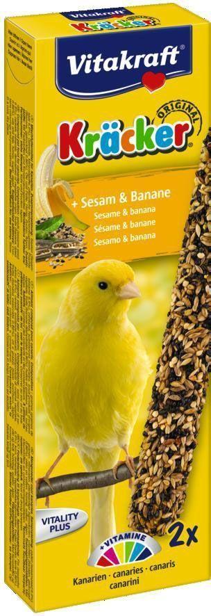 Крекеры для канареек Vitakraft, с кунжутом и бананом, 2 шт0120710Питательный крекер является дополнительным источником витаминов и минералов. Изготовлен по уникальной технологии 3-х ступенчатого запекания. Натуральная деревянная палочка и зажим для крепления в клетке делают лакомство удобным в использовании. Состав: зерно, фрукты (2,5% банана), минералы, мед, лецитин. Добавки на 1 кг продукта: витамин А - 4000 МЕ, витамин D3 - 750 МЕ. Пищевая ценность на 100 г продукта: белок - 16 г, жир - 13,5 г, клетчатка - 7,7 г, зола - 7 г, кальций - 1,35 г, фосфор - 0,65 г. Товар сертифицирован.