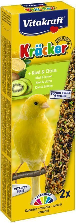 Крекеры для канареек Vitakraft, с киви, 2 шт101246Крекер содержит жизненно важные минералы и витамины, делает птицу жизнерадостной, так как она должна самостоятельно каждый раз добывать себе зерно, как в дикой природе. Обогащен витамином С. Натуральная деревянная палочка и зажим для крепления в клетке делают лакомство полезным и удобным в использовании. Состав: зерно, фрукты (2.5% киви), минералы, мед, сахар. Добавки на 1 кг продукта: витамин А - 4000 МЕ, витамин D3 - 750 МЕ. Пищевая ценность на 100 г продукта: белок - 16,5 г, жир - 13 г, клетчатка - 6,7 г, зола - 7 г, углеводы - 48,1 г. Товар сертифицирован.