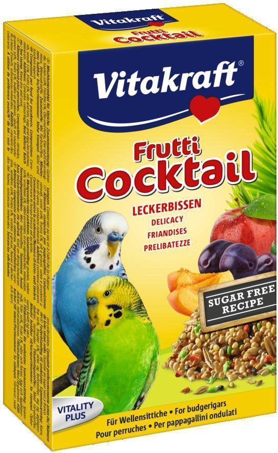 Коктейль для волнистых попугаев Vitakraft, фруктовый, 200 г0120710Сбалансированное дополнение к основному корму из фруктов и семян. Вкусное лакомство, содержащее жизненно необходимые витамины. Состав: злаки, фрукты, овощи, овощные субпродукты, орех, кондитерские добавки, сахар, минеральные добавки. Пищевая ценность: белок - 14,1%, влажность - 9,7%, жир - 8,2%, целлюлоза - 5,4%, зола - 3,2%. Товар сертифицирован.