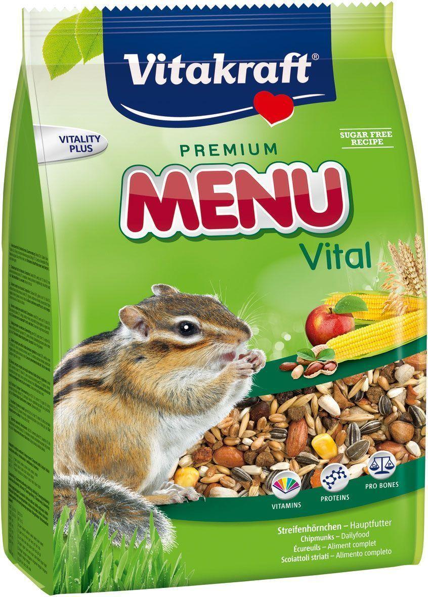 Корм для белок и бурундуков Vitakraft Premium Menu, 600 г12182548_24Полнорационный корм для белок и бурундуков. Содержит высококачественные ингредиенты и обеспечивает жизненно важными питательными веществами и витаминами. Не содержит сахар, искусственные красители и консерванты. Состав: семена, зерно, орехи, фрукты, хлебные продукты, овощи, масла и жиры. Пищевая ценность: 14,5% протеина, 12,5% масел, 13,5% клетчатки, 2.5% золы, 10% влаги, 47% углеводов. Товар сертифицирован.