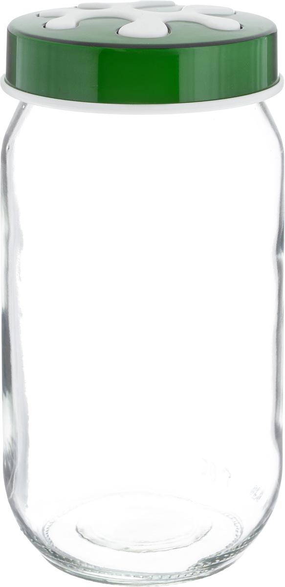 Банка для сыпучих продуктов Herevin, цвет: зеленый, прозрачный, 1 л. 135377-2050660123Банка для сыпучих продуктов Herevin выполнена из высококачественного прочного стекла. Изделие снабжено плотно закручивающейся пластиковой крышкой с рельефным узором. Прозрачные стенки позволяют видеть содержимое. Такая банка отлично подойдет для хранения различных сыпучих продуктов: орехов, сухофруктов, чая, кофе, специй. Диаметр банки: 9 см. Высота банки: 18 см.