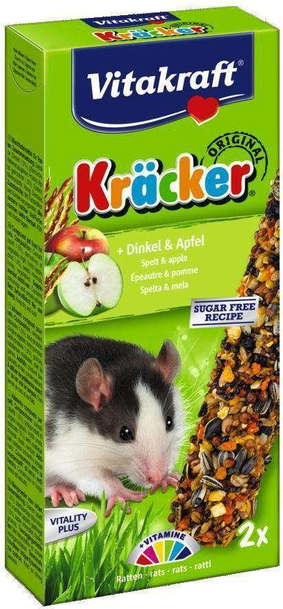 Крекеры для крыс Vitakraft, с кукурузой и фруктами, 2 шт25247Крекеры из запеченной смеси злаков, кукурузы и кусочков фруктов служат прекрасным дополнением к основному корму. Содержат внутри деревянную палочку и крепеж для клетки. Состав: крупы, фрукты, зерно, орехи, овощи, мед. Пищевая ценность: 9% растительный протеин,5% растительные жиры, 5,5% клетчатка,6% зольные вещества, 12,5% влага, 62% углеводы, 1,1% кальций, 0,5% фосфор. Добавки витаминов: A, D3, E. Товар сертифицирован.