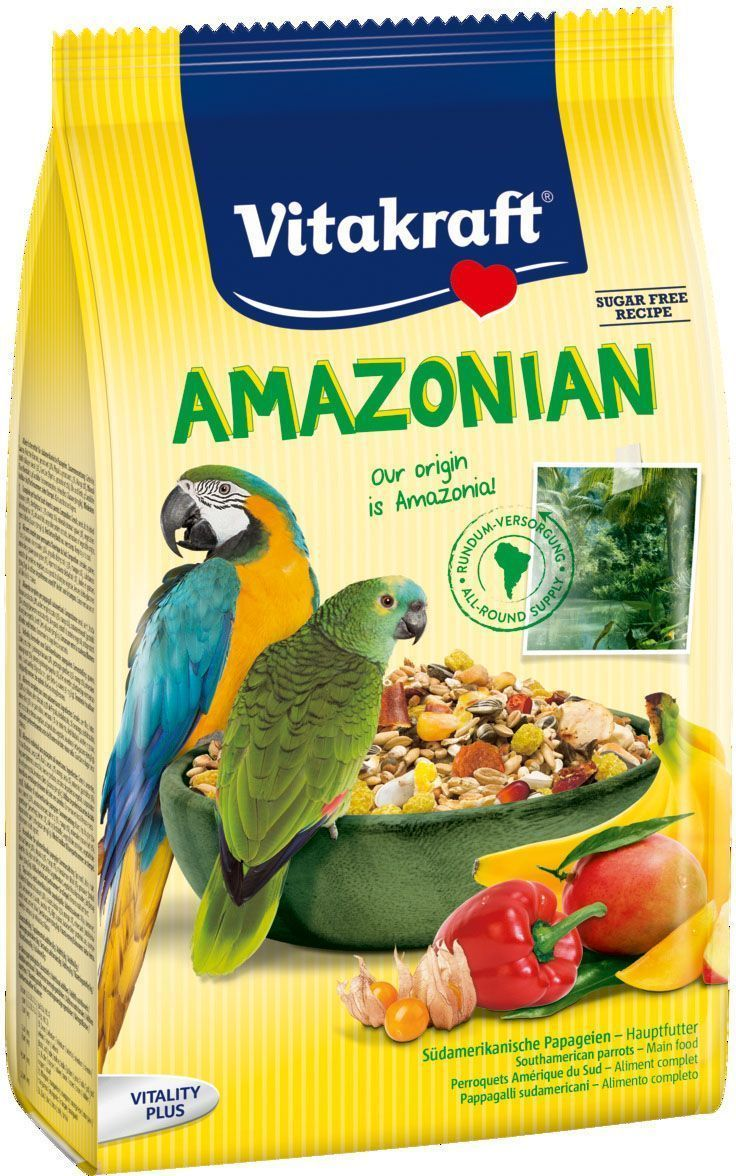 Корм для крупных попугаев Vitakraft Amazonian, 750 г12171996Основной корм, соответствующий корму на экзотической родине. Содержит все жизненно важные вещества, гравий для регулирования кишечной функции, бета-глюкан для поддержания иммунитета. Состав: злаки, семена, фрукты (5% бананы, 3,5% папайя, 2% манго), минералы, овощи, перец чили (0,5%), растительные производные, экстракт растительного протеина, дрожжи (В-глюкан), масла и жиры, 0,6% кальций, 0.3% фосфор. Витамины А,Д3,Е. Товар сертифицирован.