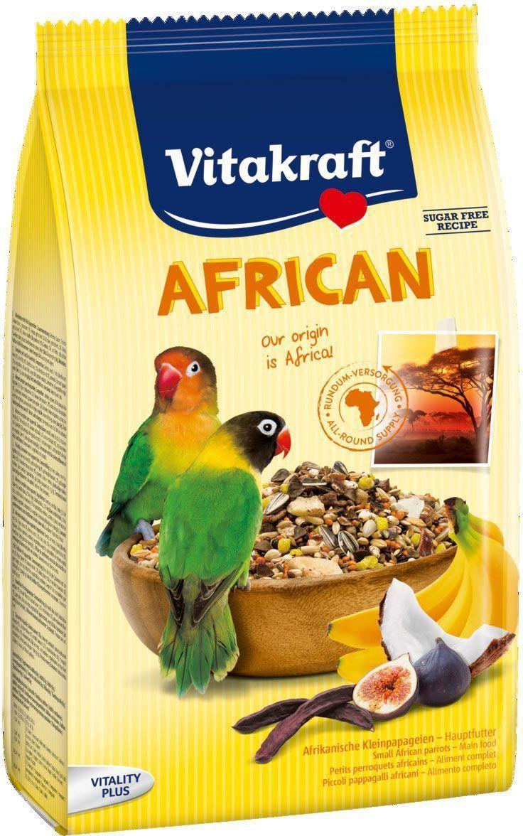 Корм для средних попугаев Vitakraft African, 750 г0120710Основной корм, соответствующий корму на экзотической родине. Содержит все жизненно важные вещества, гравий для регулирования кишечной функции, бета-глюкан для поддержания иммунитета.