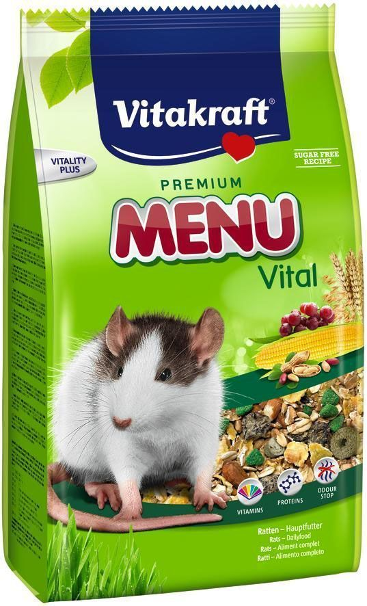 Корм для крыс Vitakraft Menu, 1 кг0120710Сбалансированный корм для крыс. Содержит все необходимые для жизнедеятельности вещества. Улучшает состояние и внешний вид животного. Содержит комплекс веществ, уменьшающих запах.
