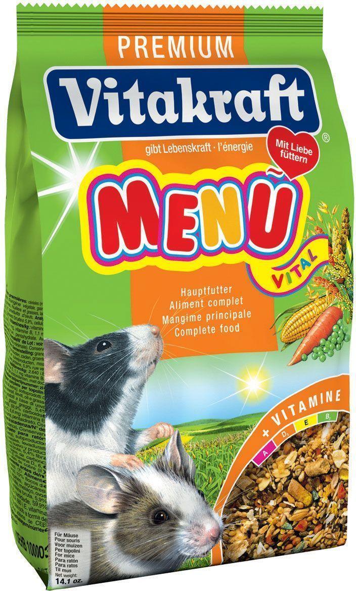 Корм для мышей Vitakraft Premium Menu, 400 г0120710Натуральный корм для мышей ежедневного применения. Содержит все необходимые минералы и витамины, находящиеся в моркови, луке и злаках.
