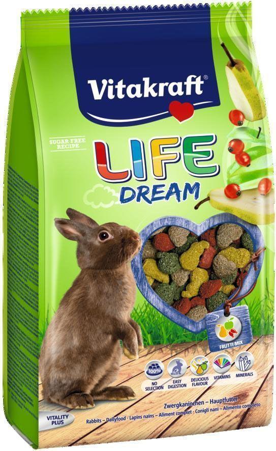 Корм для кроликов Vitakraft Life Dream, 600 г0120710Комбинированный корм для кроликов с добавлением фруктов обеспечивает необходимыми витаминами и минералами. Содержит клетчатку, способствующую улучшению пищеварения и стачиванию зубов. Содержит компоненты, уменьшающие неприятный запах. Исключает выборочное поедание.
