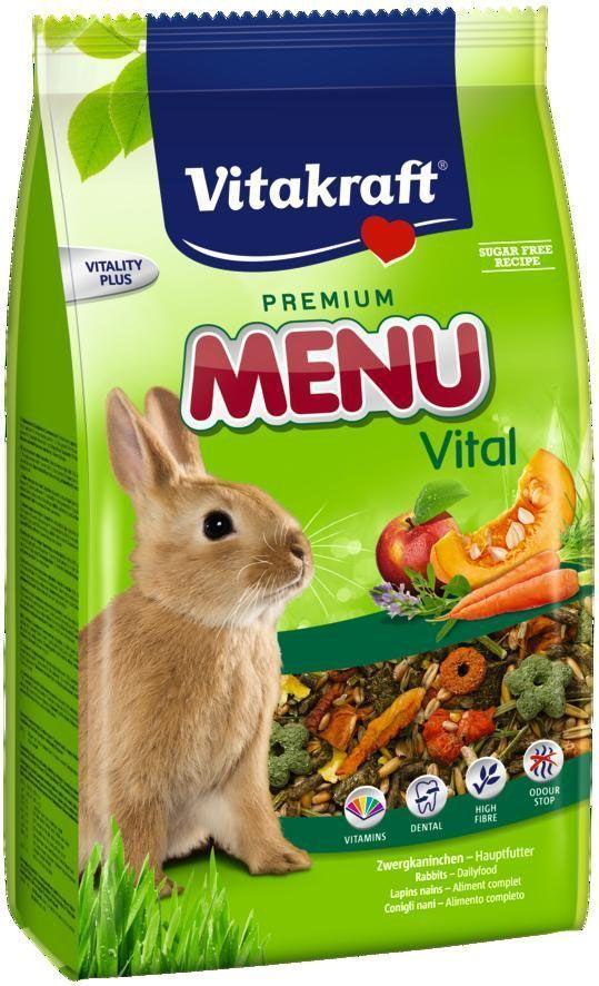 Корм для кроликов Vitakraft Menu Vital, 5 кг55670015Сбалансированный корм для кроликов Vitakraft Menu Vital для ежедневного применения. В состав входят: овощи, семена, злаки, витамины и минералы, а так же клетчатка, необходимая для правильной работы пищеварительной системы. Состав: компоненты растительного происхождения, злаки, овощи, фрукты,минералы, растительные масла и жиры, сахар, семена. Анализ:13% протеин, 3% масло, 13% клетчатка, 6% зола, 10% влажность, 54,5% углеводы, витамины А, Е, С, В1, В2.Товар сертифицирован.