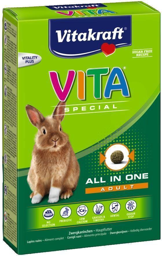 Корм для кроликов Vitakraft Vita Special, 600 гCS709Корм содержит все необходимые питательные вещества, витамины и минералы. Исключает выборочное поедание. Содержит компоненты для уменьшения неприятного запаха. Пребиотик инулин поддерживает здоровье кишечной флоры, Омега 3 и 6 жирные кислоты для красивой шерсти. Сырая клетчатка способствует стачиванию зубов. Пониженное содержание кальция помогает предотвратить мочекаменную болезнь.