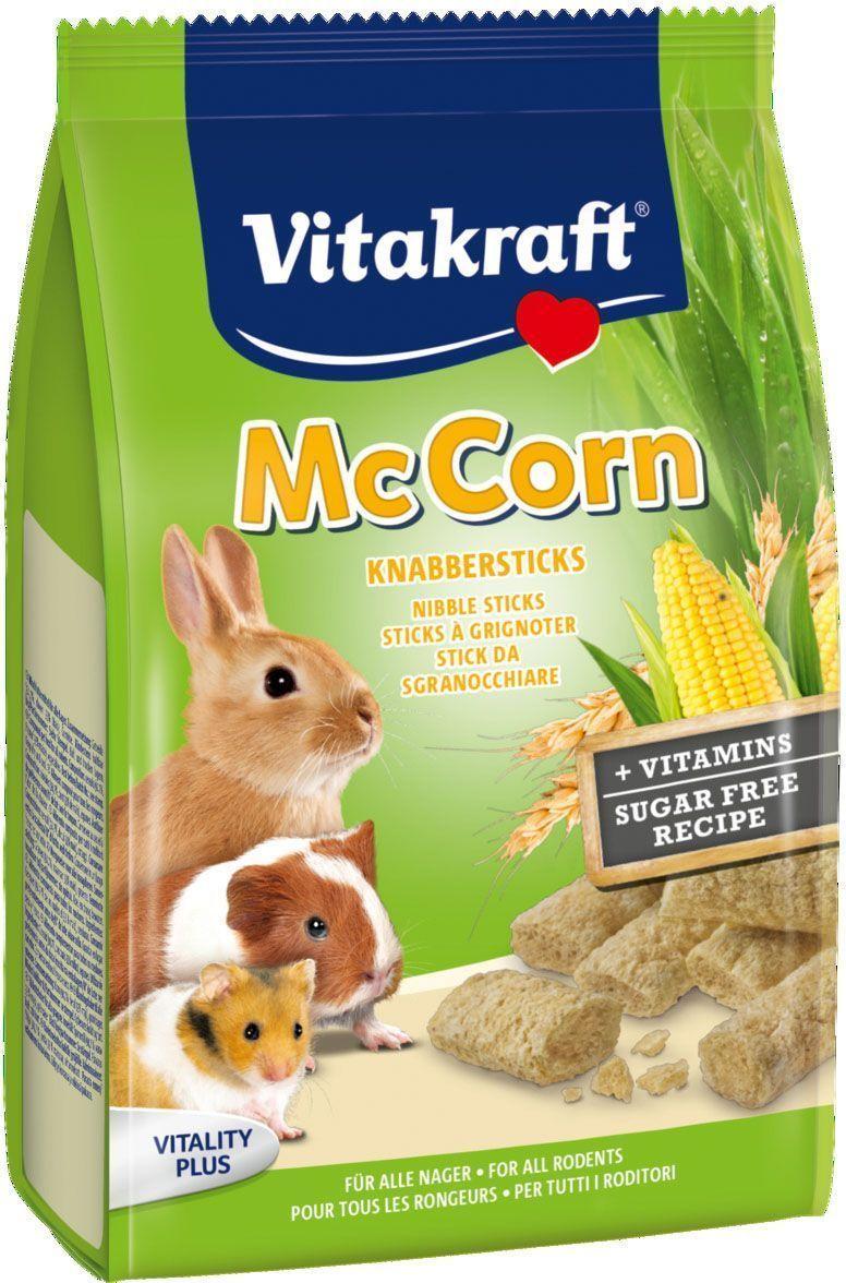 Лакомство для грызунов Vitakraft, палочки с кукурузой, 50 г25675Лакомство для грызунов палочки с кукурузой и злаками. Обогащены необходимыми питательными веществами и витаминами. Идеальное лакомство для игр и тренировки ваших питомцев. Состав: злаки, овощи. Пищевая ценность на 100 г: протеин - 14 г, жиры - 3,5 г, углеводы - 63,5 г, клетчатка - 3,5 г, зола - 4,5 г. Товар сертифицирован.