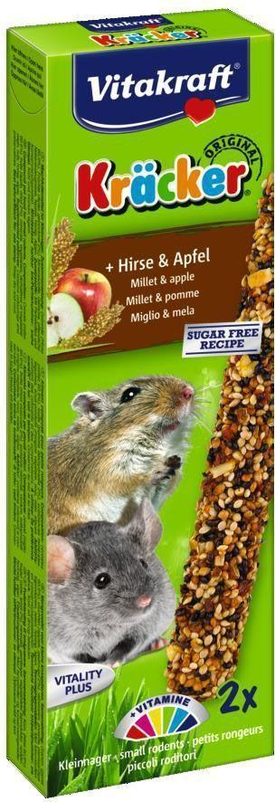 Крекеры для мышей Vitakraft, с кукурузой и фруктами, 2 шт0120710Крекеры из запеченной смеси злаков, кукурузы и кусочков фруктов служат прекрасным дополнением к основному корму. Содержат внутри деревянную палочку и крепеж для клетки. Состав: злаки (85,6%), субпродукты растительного происхождения, фрукты (3,3%), семена, минералы, мед, овощи. Товар сертифицирован.
