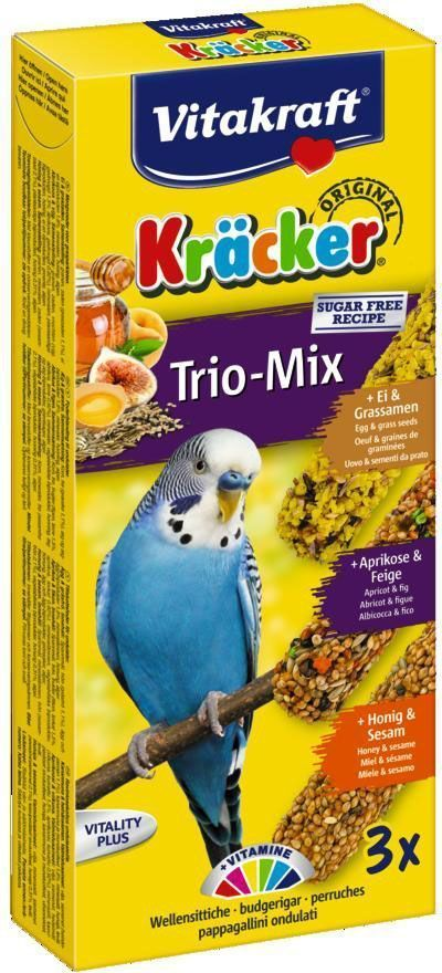 Крекеры для волнистых попугаев Vitakraft, с медом, яйцом и фруктами, 3 шт01207103 крекера с различным наполнением, обеспечивают разнообразный рацион вашей птицы, содержат жизненно необходимые минералы и витамины, полезен для перьев и делает птицу жизнерадостной, так как она должна самостоятельно каждый раз добывать себе зерно, как в дикой природе. Стержень - из натуральной древесины. Состав: злаки, мёд/фрукты/яйца, жиры, масла, овощи, зёрна, сахар, водоросли, дрожжи, кальций, фосфор. Добавки: витамин A, витамин Е, витамин D3. Товар сертифицирован.