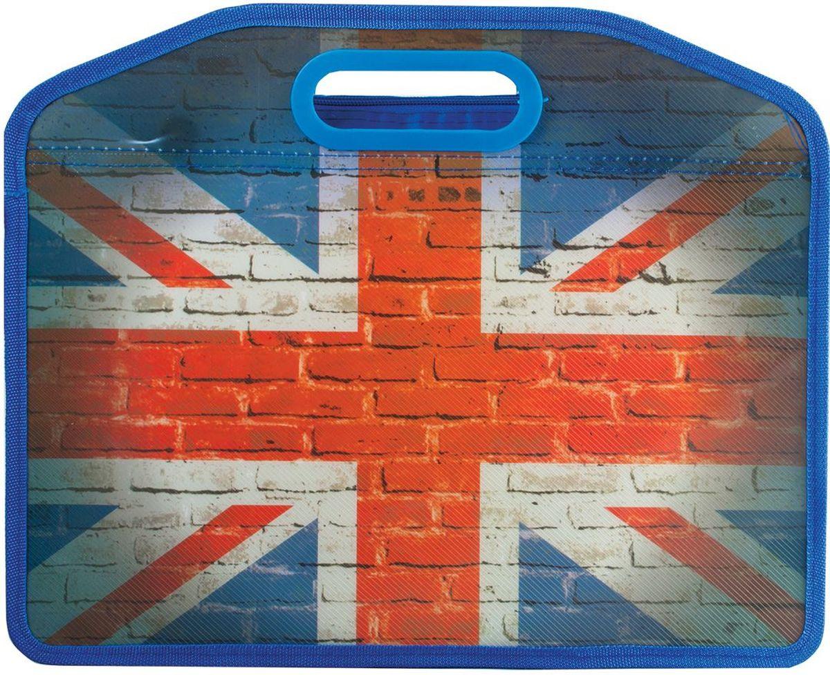 Brauberg Сумка-папка ФлагAC-1121RDСумка пластиковая предназначена для старшеклассников и студентов. Винтажный дизайн с изображением британского флага обязательно привлечет внимание молодежи.•1 отделение. •Застегивается на молнию. •Материал - полипропилен. •Толщина материала - 0,5 мм. •Размер (ВхШхГ) - 37х10х30 см.