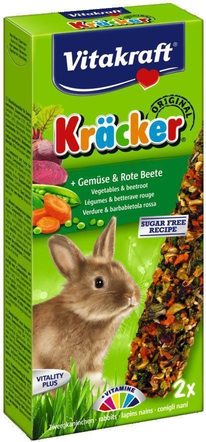 Крекеры для кроликов Vitakraft, овощные, 2 шт10625Питательный крекер является дополнительным источником витаминов и минералов. Поддерживает здоровье, жизненный тонус. Состав: злаки, семена, орехи, растительный белок, овощи, мед, лецитин. Витамины: A, D3, E. Товар сертифицирован.