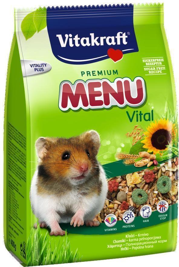Корм для хомяков Vitakraft Menu, 1 кг0120710Полнорационный корм для хомяков. Высококачественные протеины обеспечивают жизненно важные аминокислоты. Линолиевая кислота, цинк и биотин питают волосяной покров и обеспечивают здоровую и красивую шерсть. Экстракт юкки уменьшает неприятный запах.