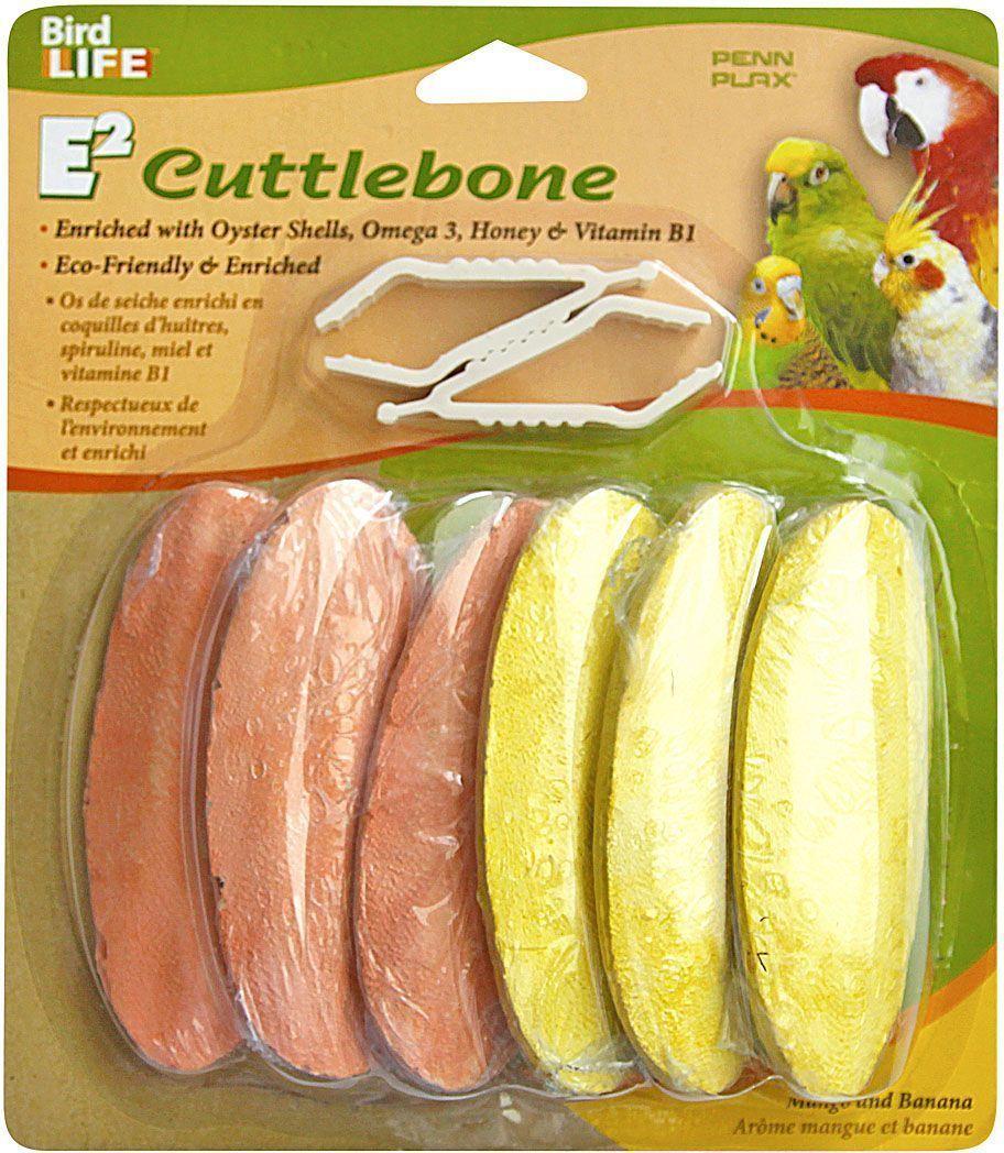 Камень для птиц Penn-Plax Mango Banana Flavor, минеральный, 6 шт0120710Минеральный камень для птиц Penn-Plax Mango Banana Flavor является источником кальция и минералов. Способствует поощрению естественных инстинктов клевания и заточке клюва.Состав: карбонат кальция (50%), измельченный панцирь каракатицы (40%), измельченные раковины моллюсков (8%), Омега 3 (0,05%), мед (0,1%), витамин В1 (0,01%), натуральные ароматизаторы манго и банана. Анализ состава: жир (минимально 0,01%), протеин (максимально 9,8%), сырая клетчатка (максимально 1%), влажность (максимально 10%).