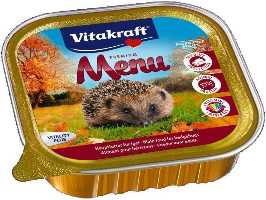 Консервы для ежей Vitakraft Menu, 100 г64598Полнорационный корм для ежей. Содержит высококачественный животный белок и необходимые витамины и минералы. Отлично подходит для ослабленных ежей.Состав: мясо и мясные субпродукты 48,9%, рыба и рыбопродукты 13,6%, минералы, продукты растительного происхождения. Товар сертифицирован.