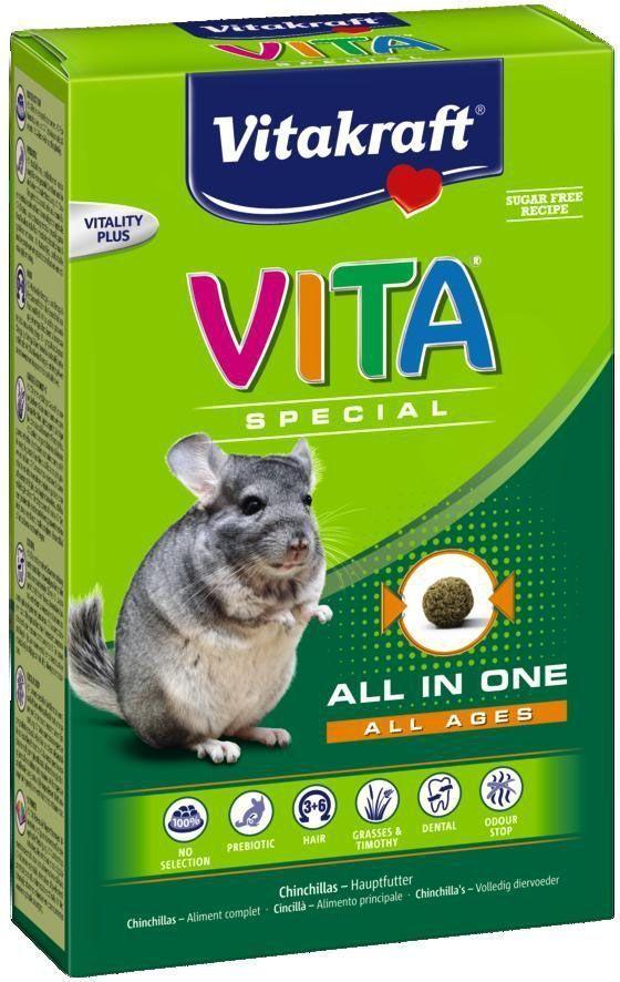 Корм для шиншилл Vitakraft Vita Special All Ages, 600 г25847Корм содержит все необходимые питательные вещества, витамины и минералы. Исключает выборочное поедание. Содержит компоненты для уменьшения неприятного запаха. Пребиотик инулин поддерживает здоровье кишечной флоры, Омега 3 и 6 жирные кислоты для красивой шерсти. Сырая клетчатка способствует стачиванию зубов. Состав: яйца и яичный продукт (цельное яйцо – 37,1%), злаки, сахар, мед 4,1%, молоко и молочные продукты, производные растительного происхождения, минеральные вещества, овощи. Товар сертифицирован.