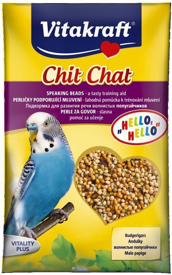 Подкормка для волнистых попугаев Vitakraft Chit Chat, для развития речи, 20 г12171996Подкормка для развития речи волнистых попугайчиков. Представляет собой аппетитную смесь спелых семян проса с добавлением необходимых витаминов, минералов и лецитина. Состав: Злаки (просо 85,5%), семена, минеральные вещества, масла и жиры, дрожжи.Пищевые добавки на 1 кг: витамин А 6000 МЕ, витамин Д3 600 МЕ, железо 14 мг, йод 4,97 мг, марганец 39,98 мг, цинк 20,04, мг лецитин 3800 мг. Товар сертифицирован.