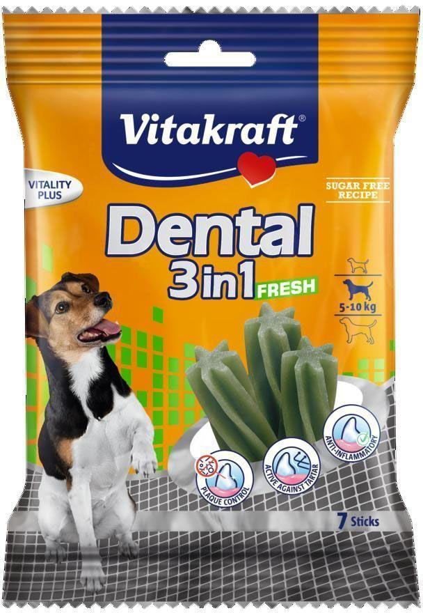 Лакомство Vitakraft Dental 3in1 Fresh для собак 4-10 кг, жевательные палочки, 7 шт64593Жевательные палочки для собак предотвращают образование зубного камня, удаляют налет и уменьшают запах изо рта. Предохраняют от заболеваний полости рта. На мясной основе с добавлением масла мяты. Товар сертифицирован.