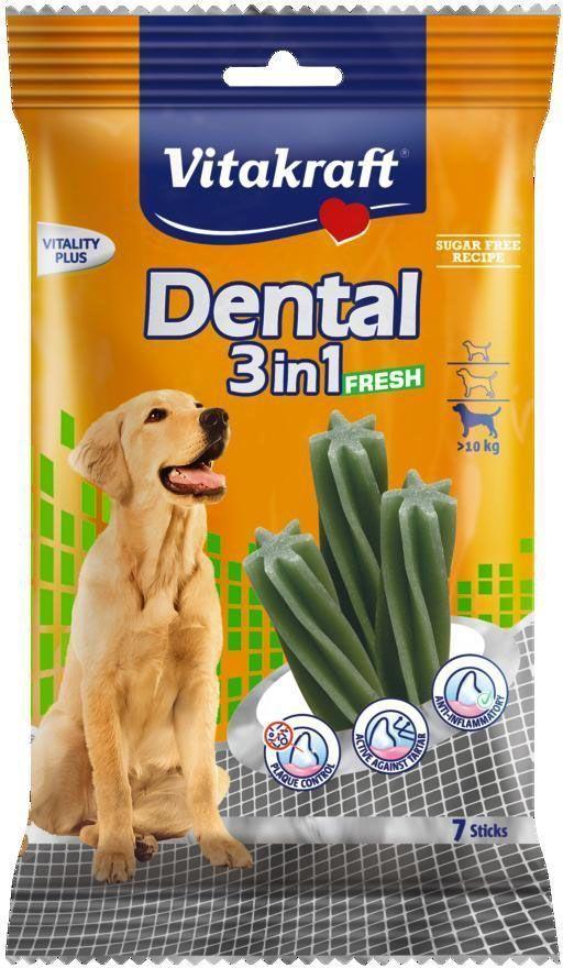 Лакомство Vitakraft Dental 3in1 Fresh для собак от 10 кг, жевательные палочки, 7 штCS601Жевательные палочки для собак предотвращают образование зубного камня, удаляют налет и уменьшают запах изо рта. Предохраняют от заболеваний полости рта. На мясной основе с добавлением масла мяты. Товар сертифицирован.