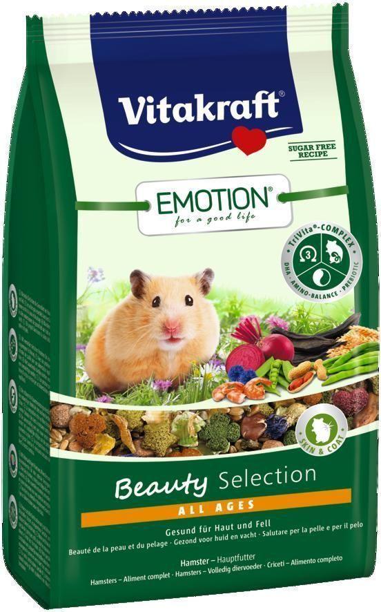 Корм для хомяков Vitakraft Beauty Selection, 600 г101246Сбалансированный корм для хомяков. Содержит пребиотик инулин, все жизненно важные аминокислоты и докозагексаеновую кислоту, важную для функции сердца, головного мозга и иммунной системы. Содержит ценные масла,обеспечивающие красивую и здоровую шерсть.Состав: продукты растительного происхождения, злаки 32%, овощи 19,9%, орехи 3,5%, инулин 2%, семена, масла и жиры 1,1%, фрукты 1%, васильки 1%, моллюски и ракообразные (креветки 1%), молоко и молочные субпродукты, минералы, экстракт растительного протеина, водоросли, экстракт юкки.Товар сертифицирован.