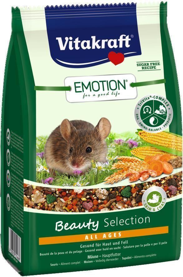 Корм для мышей Vitakraft Beauty Selection, 300 г0120710Сбалансированный корм для мышей всех возрастов. Содержит ценные масла, обеспечивающие красивую и здоровую шерсть, пребиотик инулин, все жизненно важные аминокислоты и докозагексаеновую кислоту, важную для функции сердца, головного мозга и иммунной системы.