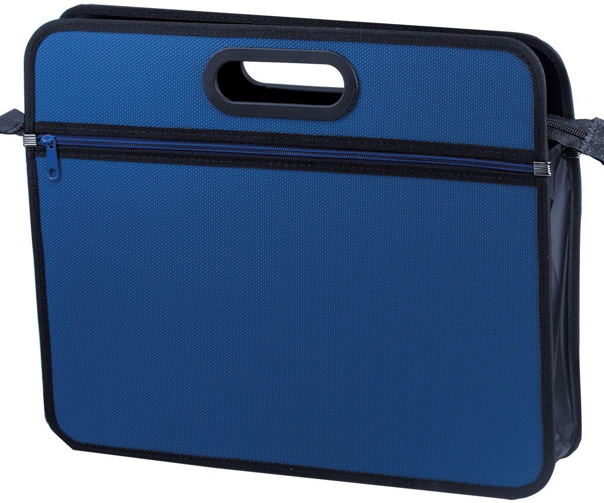 Brauberg Сумка-папка цвет синий 225167FS-36052Удобная и стильная модель для транспортировки документов и различных предметов. Ручка и края окантованы тканью, придавая презентабельный вид изделию. Материал - жесткий пластик с фактурой бисер. Застегивается на молнию.•Размер: 390х315х70 мм (А4+). •1 отделение, 1 внешний карман. •Толщина материала - 1 мм. •Фактура - бисер. •Жесткий пластик. •Замок - молния. •Цвет - синий.