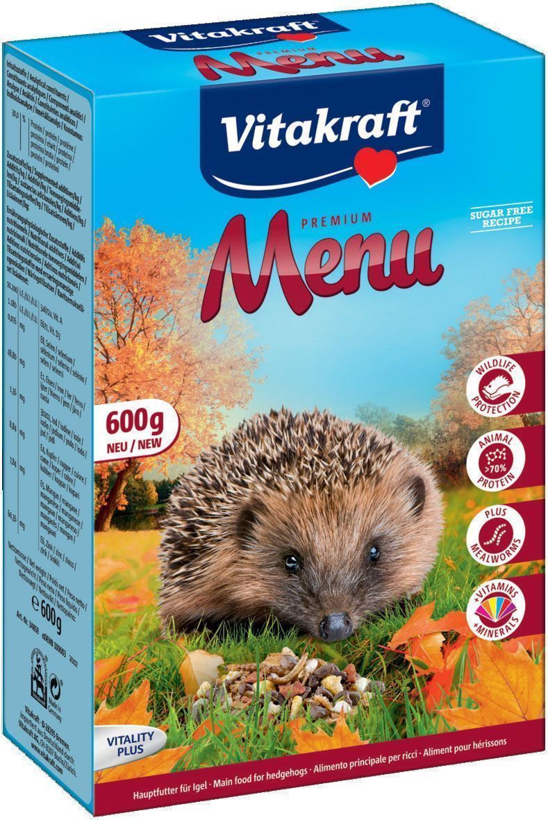Корм сухой для ежей Vitakraft Menu, 600 г109Полнорационный корм для ежей, разработанный с учетом их индивидуальных потребностей. Обеспечивает необходимыми питательными веществами и витаминами. Состав: злаки, мясо и мясные субпродукты (22,3%), моллюски и ракообразные (15%), масла и жиры (12,1%), продукты растительного происхождения, орехи (2%), фрукты (2%), насекомые (мучной хрущак 1%), овощи, дрожжи, минералы. Товар сертифицирован.