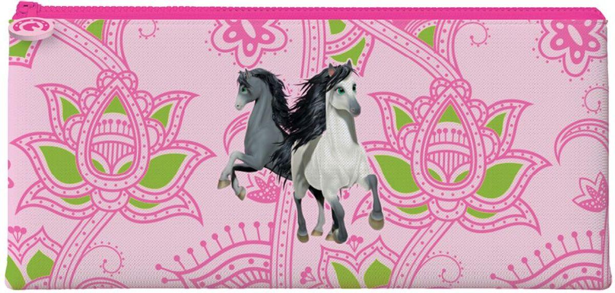 Brauberg Пенал-косметичка Лошади226299Пенал-косметичка предназначен для детей 7-10 лет. Он выполнен в ярких цветах и дополнен необычным принтом.•1 отделение. •Размер: 20х10 см. •Индивидуальная упаковка с европодвесом.