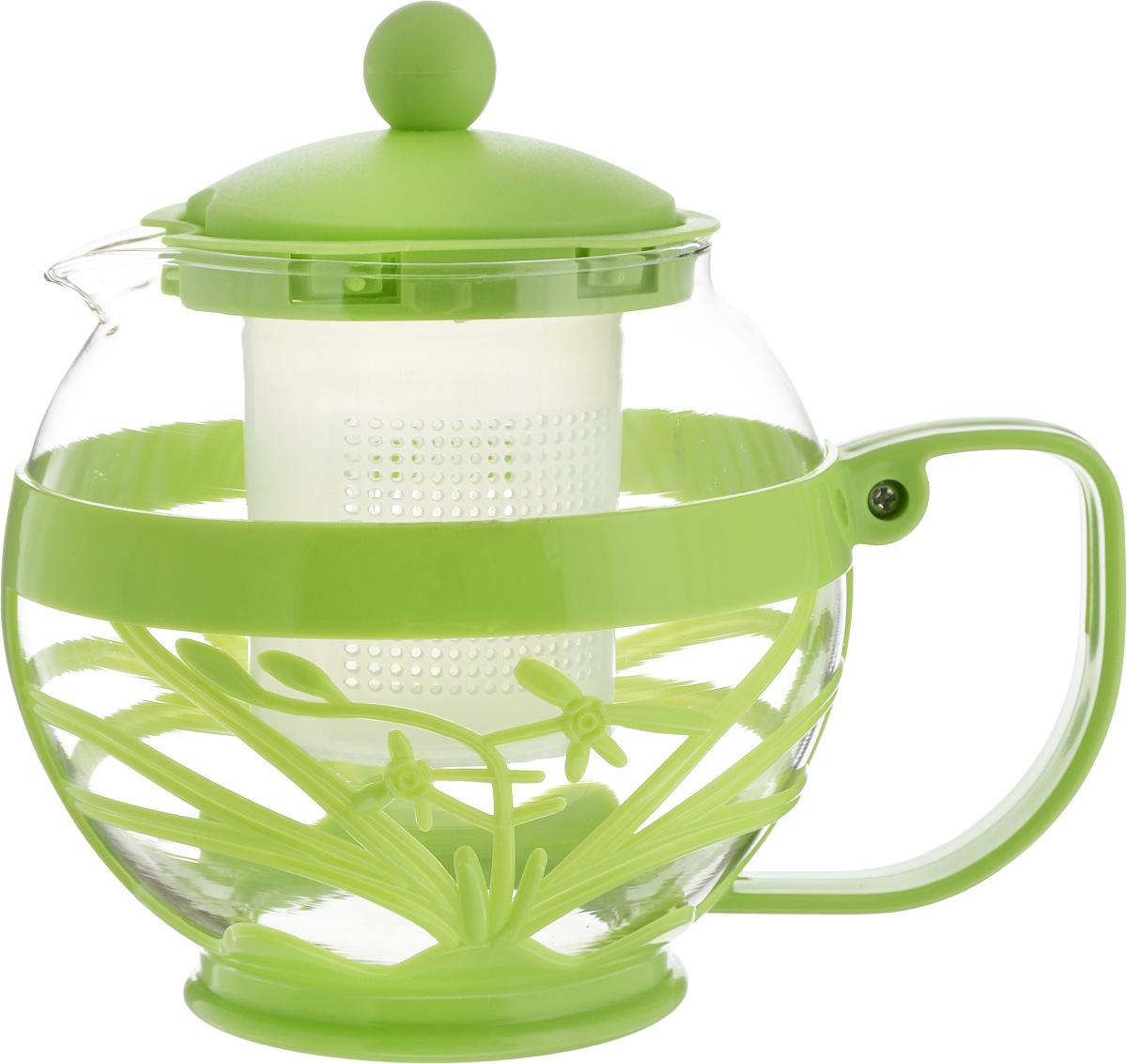 Чайник заварочный Wellberg Aqual, с фильтром, цвет: прозрачный, зеленый, 800 мл68/5/4Заварочный чайник Wellberg Aqual изготовлен из высококачественного пластика и жаропрочного стекла. Чайник имеет пластиковый фильтр и оснащен удобной ручкой. Он прекрасно подойдет для заваривания чая и травяных напитков. Такой заварочный чайник займет достойное место на вашей кухне.Высота чайника (без учета крышки): 11,5 см.Высота чайника (с учетом крышки): 14 см. Диаметр (по верхнему краю): 7 см.