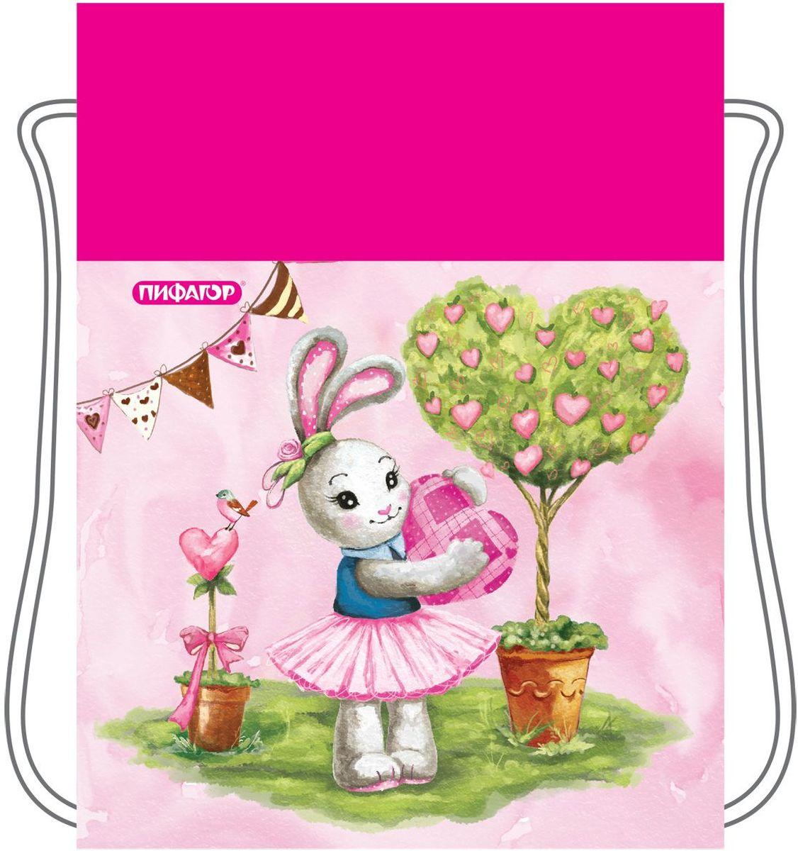 Пифагор Сумка для детской обуви Зайка цвет розовый226528Сумка для обуви Пифагор предназначена для детей 7-10 лет. Вместительная сумка затягивается шнурком. Яркий тематический принт поможет школьнику проявить индивидуальность.Водоотталкивающая пропитка ткани.