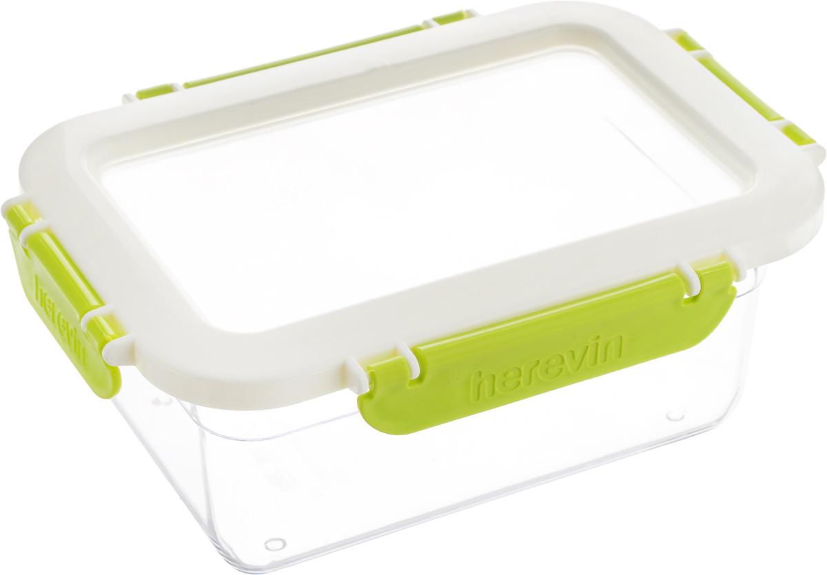 Контейнер для продуктов Herevin, 1 л. 161425-002VT-1520(SR)Контейнер для продуктов Herevin изготовлен из качественного пищевого пластика без содержания BPA. Крышка с 4 защелками плотно и герметично закрывается, поэтому продукты дольше остаются свежими. Прозрачные стенки позволяют видеть содержимое. Такой контейнер подойдет для использования дома, его можно взять с собой на работу, учебу, в поездку. Можно использовать в микроволновой печи без крышки. Нельзя мыть в посудомоечной машине.