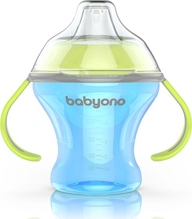 BabyOno Поильник непроливайка Natural Nursin с мягким носиком 180 мл цвет голубой -  Поильники