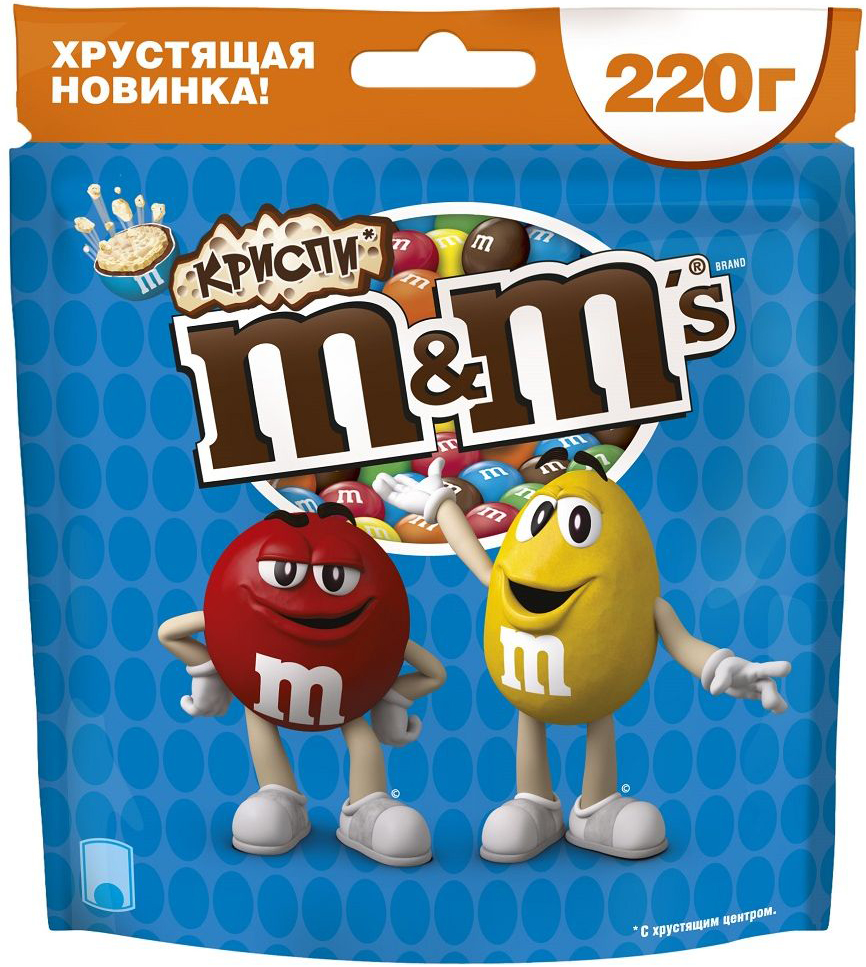 M&Ms Криспи драже с хрустящим центром, 220 г0120710Шоколадное драже M&Ms Криспи с хрустящим центром, покрытое молочным шоколадом.