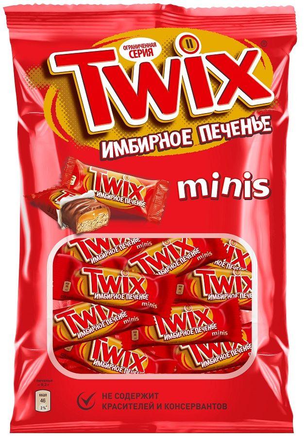 Twix Minis Имбирное печенье шоколадный батончик, 184 г0120710Шоколадные батончики Twix Имбирное печенье Minis - это хрустящее печенье, густая карамель, смесь специй и великолепный молочный шоколад. Чаепитие с Твикс в компании коллег, друзей или родных - отличное способ провести свободное время. Сделай паузу - скушай Твикс.