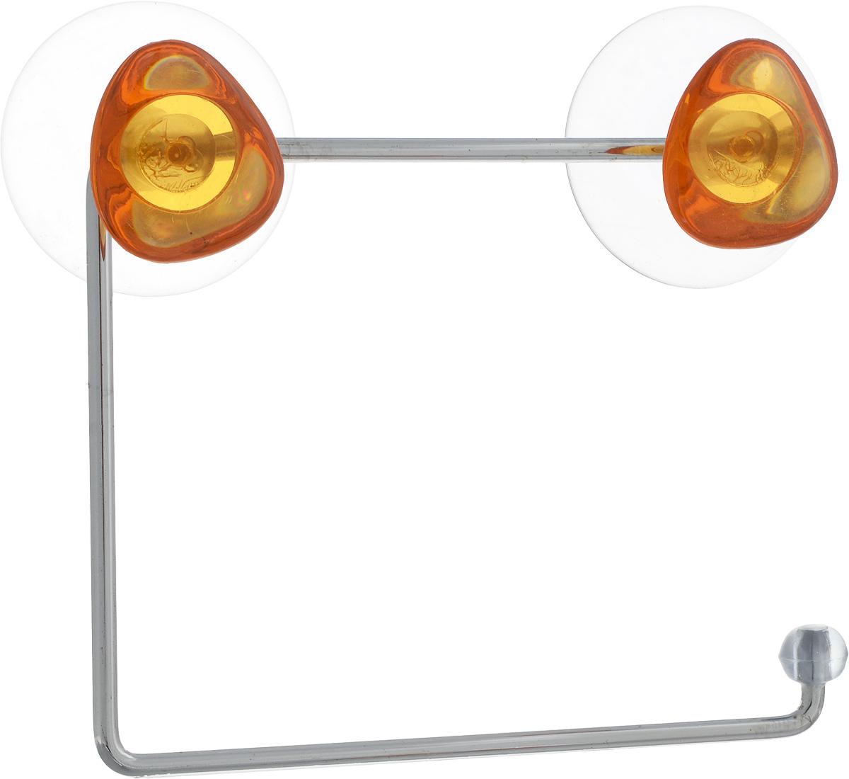 Держатель для туалетной бумаги Axentia Amica, на присосках, цвет: оранжевый, стальной25051 7_зеленыйДержатель для туалетной бумаги Axentia Amica изготовлен из высококачественной стали с хромированным покрытием, которое устойчиво к влажности и перепадам температуры. Держатель поможет оформить интерьер в выбранном стиле. Он хорошо впишется в любой интерьер, придавая ему черты современности. Для большего удобства изделие крепится с помощью двух присосок из поливинилхлорида (входят в комплект), что дает возможность при необходимости менять их месторасположение. Размер держателя: 15 х 12,5 х 4 см. Диаметр присоски: 5,5 см.