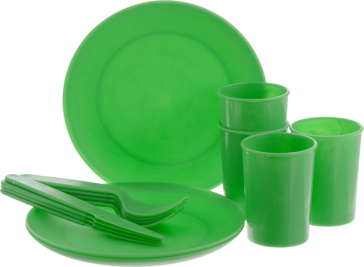 Набор пластиковой посуды Gotoff Туристический, цвет: зеленый, 16 предметов95444-974-00Набор пластиковой посуды Gotoff Туристический включает 4 тарелки, 4 стакана, 4 вилки и 4 ножа. Изделия выполнены из прочного пищевого полипропилена. Набор отлично подойдет как для холодных, так и для горячих блюд. Его удобно использовать на даче, брать с собой на пикники и в поездки. Отличный вариант для детских праздников. Пластиковая посуда не разобьется и будет служить вам долгое время. Изделия легко моются, гигиеничны, не накапливают запахов. Диаметр тарелки: 20,5 см. Диаметр стакана: 7 см. Высота стакана: 9 см. Длина вилки: 18 см. Длина ножа: 18,5 см.
