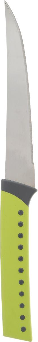 Нож для овощей Heverin, цвет: салатовый, длина лезвия 13,5 см94672Нож для овощей Heverin станет практичным приобретением для кухни. Лезвие ножа выполнено из нержавеющей стали и имеет серрейторную заточку, которая позволяет легко нарезать овощи и фрукты с мягкой сердцевиной, например, помидоры, а также хлеб. Рукоятка выполнена из пластика с приятным на ощупь прорезиненным покрытием. Эргономичный дизайн обеспечивает надежный хват и комфорт во время резки. Длина ножа: 24,5 см.