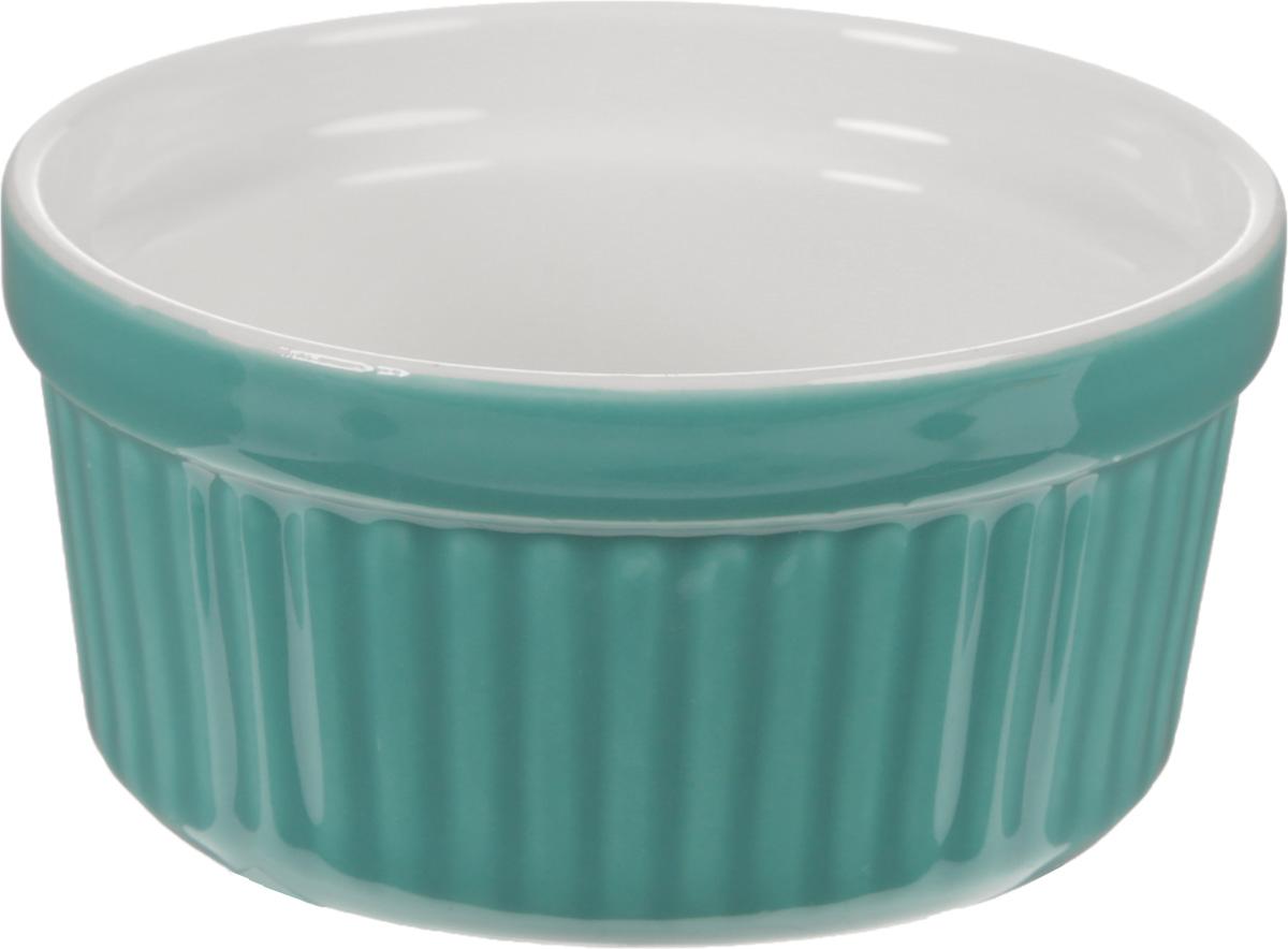 Форма для запекания Calve, круглая, цвет: бирюзовый, белый, 150 млSBZO01160-1Форма для запекания Calve, выполненная из жаропрочной керамики, подходит для использования в духовке. Во время процесса приготовления посуда из керамики впитывает лишнюю влагу из продукта и хранит тепло. Подходит для хранения в холодильнике и морозильной камере. Можно мыть в посудомоечной машине. Диаметр (по верхнему краю): 8,5 см. Высота: 4,5 см.Объем: 150 мл.