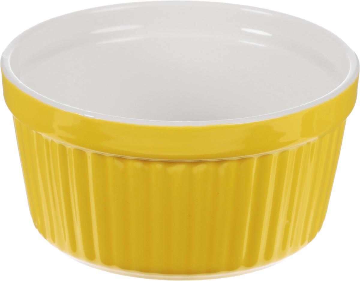 Форма для запекания Calve, круглая, цвет: желтый, 250 мл54 009312Форма для запекания Calve, выполненная из жаропрочной керамики, подходит для использования в духовке. Во время процесса приготовления посуда из керамики впитывает лишнюю влагу из продукта и хранит тепло. Подходит для хранения в холодильнике и морозильной камере. Можно мыть в посудомоечной машине. Диаметр (по верхнему краю): 9,7 см. Высота: 5,5 см.Объем: 250 мл.