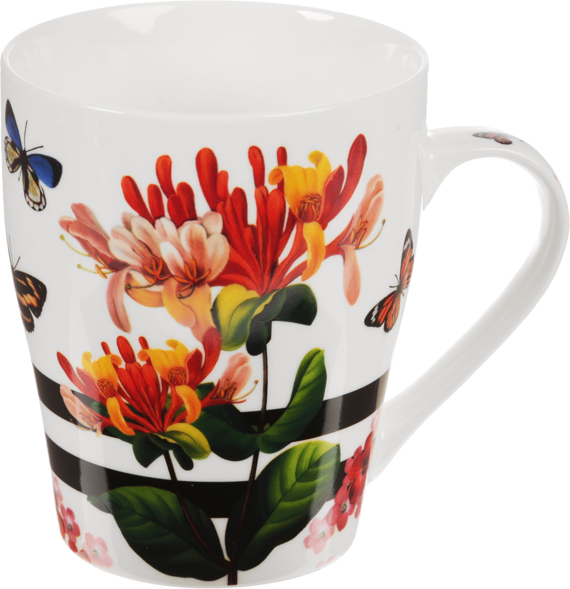 Кружка Loraine Цветы, 340 мл. 24450_268/5/4Кружка Loraine Цветы, изготовленная из костяного фарфора, оснащена удобной ручкой и оформлена красочным изображением. Благодаря своим термостатическим свойствам, изделие отлично сохраняет температуру содержимого. Диаметр (по верхнему краю): 8,3 см. Высота кружки: 10 см. Объем: 340 мл.